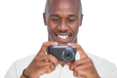 Smiling man taking picture Royalty Free Stock Photo