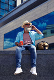 Smiling man talking on phone Royalty Free Stock Photos