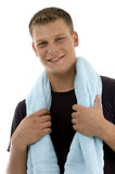 Smiling man with towel. With white background Royalty Free Stock Image