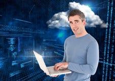 Smiling man using laptop against web binary code background. Portrait of smiling man using laptop against web binary code background stock photography