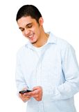 Smiling Man Using Mobile Phone Royalty Free Stock Photo