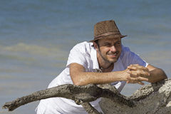Smiling man in vacation Stock Image