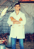 Smiling man veterinarian in white coat with chickens. Smiling man veterinarian in white coat holding brown chickens in hands on farm Stock Photo