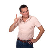 Smiling Man Wagging Finger Pointing Upwards Stock Photos