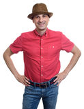 Smiling man wearing red shirt and hat Stock Photography