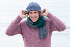 Smiling man wearing warm clothes Royalty Free Stock Image