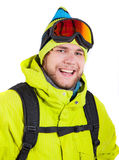 Smiling man wearing winter sports gear Stock Photo