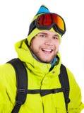 Smiling man wearing winter sports gear Stock Photo