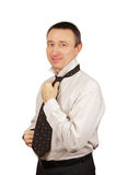 Smiling man wears a tie Royalty Free Stock Photo