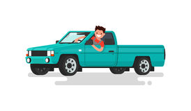 Smiling man at the wheel of a pickup truck. Vector illustration. Of a flat design Stock Photography