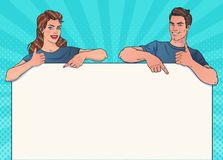 Smiling man and woman with banner. Poster, advertising. Your brand or text here. royalty free illustration