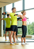 Smiling man and woman with dumbbells in gym Royalty Free Stock Photo