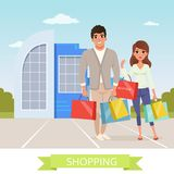 Smiling man and woman flat cartoon characters. People standing in front of supermarket. Young couple shopping. Colorful Royalty Free Stock Photos