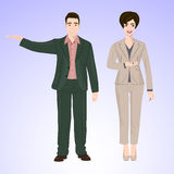 Smiling man and woman in office style wear Stock Photography