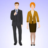 Smiling man and woman in office style wear Stock Images