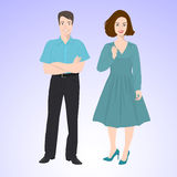 Smiling man and woman in office style wear Royalty Free Stock Photos