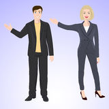 Smiling man and woman in office style wear Stock Photos