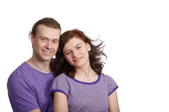 Smiling man and woman stand side by side Royalty Free Stock Photo