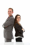 Smiling man and woman in suits Royalty Free Stock Photos