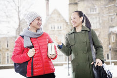 Smiling man and woman in winter clothes Royalty Free Stock Photography