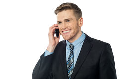 Smiling manager communicating with client Royalty Free Stock Image