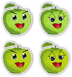 Smiling manga style apples-sticker Royalty Free Stock Photography