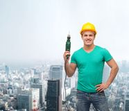 Free Smiling Manual Worker In Helmet With Drill Machine Royalty Free Stock Photos - 39660098