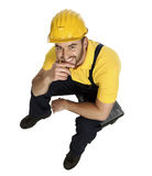 Smiling manual worker rest on toolbox Stock Photography