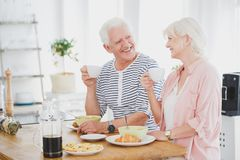 Smiling marriage of elders eat breakfast. At wooden table and drink coffee in dining room royalty free stock photos