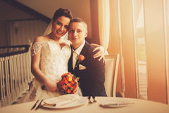 Smiling married couple in restaurant Royalty Free Stock Photo