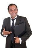 Smiling mature business man with notebook Stock Photos