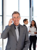 Smiling mature businessman on phone Royalty Free Stock Image
