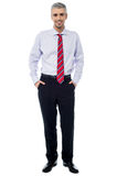 Smiling mature businessman. Businessman posing with hands in his pockets Royalty Free Stock Images