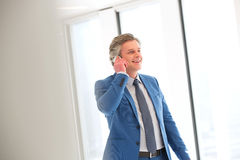 Smiling mature businessman talking on mobile phone in office Stock Photo