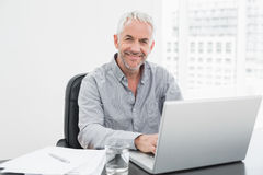 Smiling mature businessman using laptop at desk in office Stock Photos