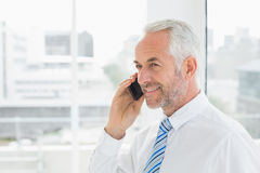 Smiling mature businessman using mobile phone in office Royalty Free Stock Photography