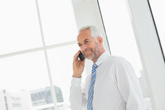 Smiling mature businessman using mobile phone in office Royalty Free Stock Images