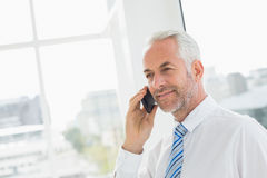 Smiling mature businessman using mobile phone in office Stock Images