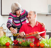 Smiling mature couple cooking  together Royalty Free Stock Photo