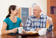 Smiling mature couple having tea Stock Photo
