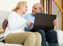 Smiling mature couple  with laptop Royalty Free Stock Photography