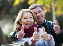 Smiling mature couple showing thumbs up Royalty Free Stock Images