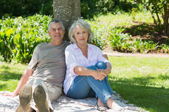 Smiling mature couple sitting against a tree at park Stock Photo