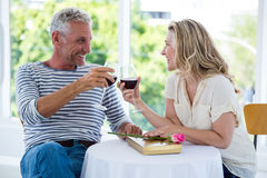 Smiling mature couple toasting red wine Stock Image