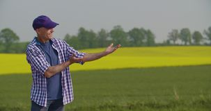 Smiling mature farmer examining agricultural field stock video footage