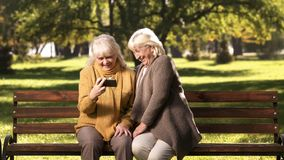 Smiling mature ladies watching photos or news on smartphone sitting in park. Stock photo stock photos