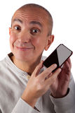 Smiling mature man with phone Stock Image