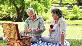 Smiling mature man showing strawberries to his wife. In a parkland stock video