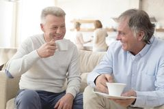 Smiling mature men holding coffee while sitting on sofa at home stock photography