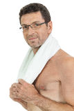 Smiling mature sporty man with towel fittness sport health isolated Stock Photo